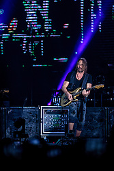 INGLEWOOD, CA - SEPTEMBER 24: Guitarist Sergio Vallin of Mana performs on stage during a stop of the band's Latino Power Tour at the Forum on September 24, 2016 in Inglewood,California USA. Byline, credit, TV usage, web usage or linkback must read SILVEXPHOTO.COM. Failure to byline correctly will incur double the agreed fee. Tel: +1 714 504 6870.