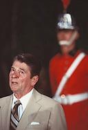 President Ronald Reagan at an arrival ceremony at Palacio de Alvorado in Brasilia<br />Photo by Dennis Brack