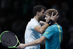 2017?11?19?.    ?????1???——???????ATP???????.       11?19??????????????????????.       ???????????ATP????????????????????????????2?1???????????????.       ????????.(SP) BRITAIN-LONDON-TENNIS-ATP FINALS-FINAL-DIMITROV VS GOFFIN.(171119) -- LONDON, Nov. 19, 2017  Grigor Dimitrov (L) of Bulgaria and David Goffin of Belgium greet each other after the singles final at the Nitto ATP World Tour Finals at O2 Arena in London, Britain on Nov. 19, 2017. Dimitrov claimed the title by winning 2-1. (Credit Image: © Han Yan/Xinhua via ZUMA Wire)