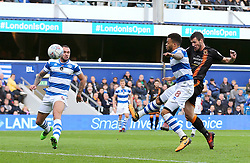 Wolves Leo Bonatini shoots wide during the Sky Bet Championship match at Loftus Road, London.