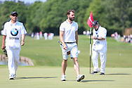 Jamie Dornan (fifty shades of grey) on the 18th green during the Celebrity Pro-Am day at Wentworth Club, Virginia Water, United Kingdom on 23 May 2018. Picture by Phil Duncan.