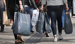 File photo dated 15/09/14 of shoppers on Oxford Street in London. Consumer confidence has fallen to the level last seen in the immediate aftermath of the Brexit vote.