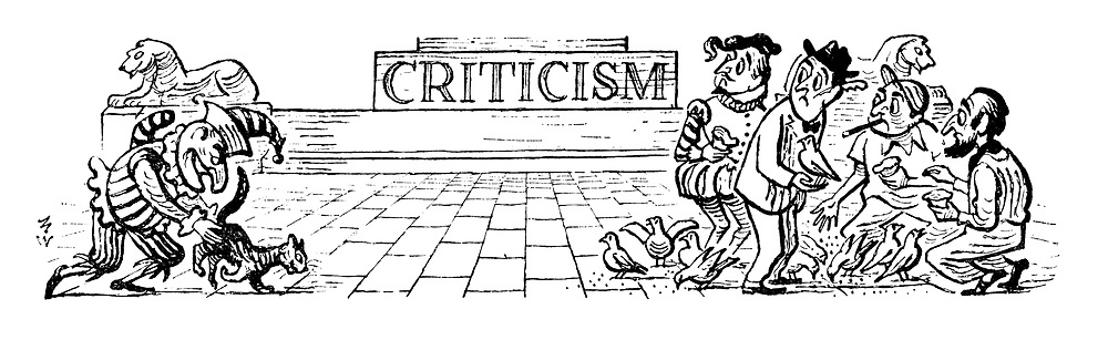 (Header from the Criticism pages of Punch Magazine showing Mr Punch putting the cat amongst the pigeons as the are being fed by artistic types in Trafalgar Square)