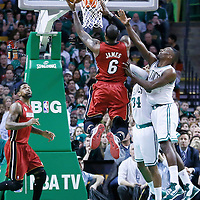 18 March 2013: Miami Heat small forward LeBron James (6) goes for the layup past Boston Celtics power forward Jeff Green (8) during the Miami Heat 105-103 victory over the Boston Celtics at the TD Garden, Boston, Massachusetts, USA.