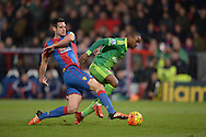 a mistake by Scott Dann of Crystal Palace (l) as he pokes the ball back past his keeper for Jermain Defoe of Sunderland (r) to pounce and score his sides 1st goal to make it 0-1.Barclays Premier league match, Crystal Palace v Sunderland at Selhurst Park in London on Monday 23rd November 2015.<br /> pic by John Patrick Fletcher, Andrew Orchard sports photography.