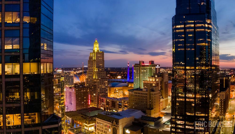 Kansas City Missouri downtown area in April 2021.
