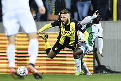 November 17, 2017 - Lier, BELGIUM - Lierse's Yvan Yagan and Cercle's Jordy Gaspar fight for the ball during a soccer game between Lierse SK and Cercle Brugge, in Lier, Friday 17 November 2017, on day 16 of the division 1B Proximus League competition of the Belgian championship. BELGA PHOTO YORICK JANSENS (Credit Image: © Yorick Jansens/Belga via ZUMA Press)