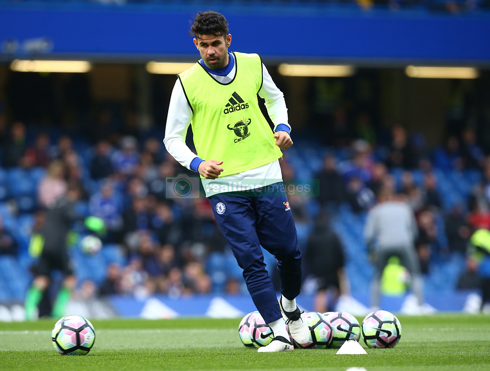 May 8, 2017 - London, England, United Kingdom - Chelsea's Diego Costa during the pre-match warm-up during Premier League match between Chelsea and Middlesbrough at Stamford Bridge, London, England on 08 May 2017. (Credit Image: © Kieran Galvin/NurPhoto via ZUMA Press)