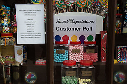© Licensed to London News Pictures . 20/11/2014 . Kent , UK . The Sweet Expectations sweet shop final poll results predicting a UKIP win . The Rochester and Strood by-election campaign following the defection of sitting MP Mark Reckless from Conservative to UKIP . Photo credit : Joel Goodman/LNP