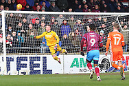 Shrewsbury Town goalkeeper Dean Henderson (1) makes a save from Scunthorpe United forward Ivan Toney (9) during the EFL Sky Bet League 1 match between Scunthorpe United and Shrewsbury Town at Glanford Park, Scunthorpe, England on 17 March 2018. Picture by Mick Atkins.