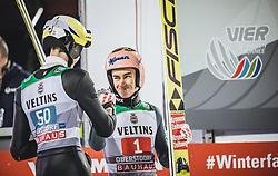 30.12.2018, Schattenbergschanze, Oberstdorf, GER, FIS Weltcup Skisprung, Vierschanzentournee, Oberstdorf, 1. Wertungsdurchgang, im Bild Jonathan Learoyd (FRA), Stefan Kraft (AUT) // Jonathan Learoyd of France Stefan Kraft of Austria during his 1st Competition Jump for the Four Hills Tournament of FIS Ski Jumping World Cup at the Schattenbergschanze in Oberstdorf, Germany on 2018/12/30. EXPA Pictures © 2018, PhotoCredit: EXPA/ Stefanie Oberhauser