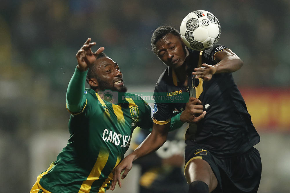 (L-R) Wilfried Kanon of ADO Den Haag, Sadiq Umar of NAC Breda during the Dutch Eredivisie match between ADO Den Haag and NAC Breda at Cars Jeans stadium on March 10, 2018 in The Hague, The Netherlands