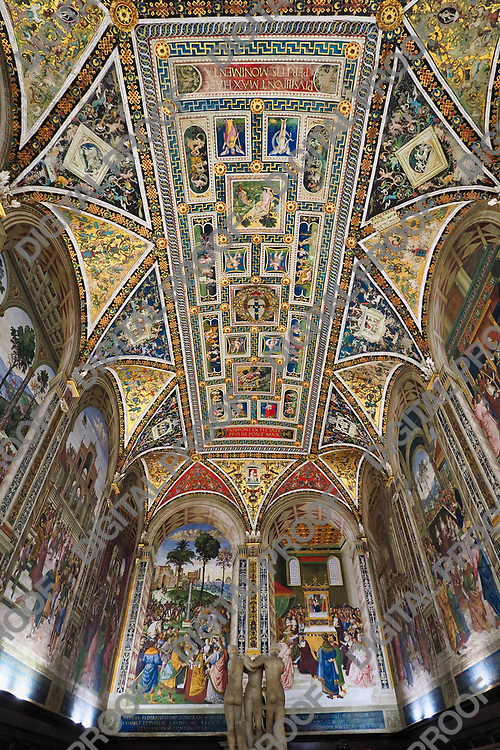 Piccolomini Library room with ceiling frescoes of vibrant colors and statues during the day