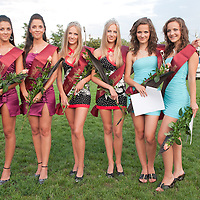 Three winning twin couples Dora and Dominica Urszity (L) placed third, Agnes and Lucia Teglas (C) placed first and Andrea and Krisztina Marics (R) placed second during the Queens of Twins beauty contest organized as part of the 12th Twin Festival held 7th time in Szigehalom (about 15 km from Budapest), Hungary on July 23, 2011. ATTILA VOLGYI