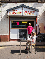 Small cafe in the Barras market in East End of Glasgow United Kingdom