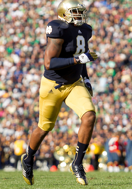 September 08, 2012:  Notre Dame inside linebacker Kendall Moore (8) during NCAA Football game action between the Notre Dame Fighting Irish and the Purdue Boilermakers at Notre Dame Stadium in South Bend, Indiana.  Notre Dame defeated Purdue 20-17.