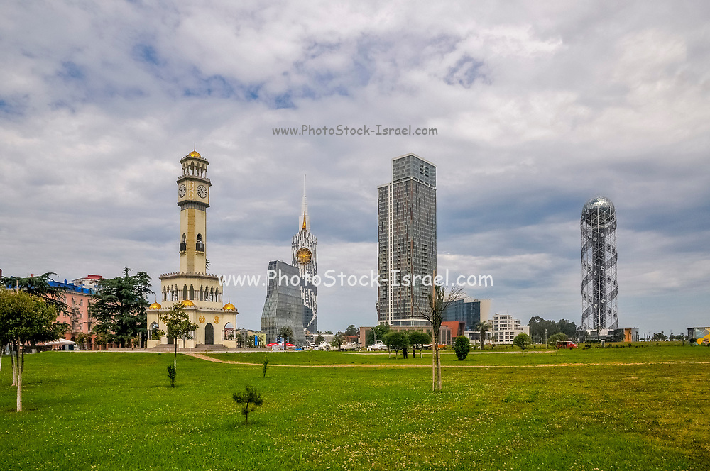 Old Clock Tower and Technological University tower in Miracle Park, on the Black Sea coast in Batumi, Georgia