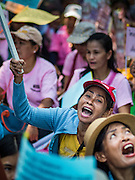 03 OCTOBER 2016 - BANGKOK, THAILAND:  World Habitat Day protesters rally near the Prime Minister's office in Bangkok. In 1985, the UN General Assembly declared that World Habitat Day would be observed on the first Monday of October every year.  The declaration noted that every person deserves a decent place to live. In Bangkok this year, hundreds of people marched to the United Nations' offices to deliver a letter addressed to the UN Secretary General noting that forced evictions to facilitate urban renewal and gentrification was resulting in an increase in homelessness and substandard housing. Protesters and housing rights' activists also marched to the Prime Minister's Office and Bangkok city hall to express their concerns.     PHOTO BY JACK KURTZ