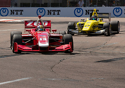 March 9, 2019 - St. Petersburg, FL, U.S. - ST. PETERSBURG, FL - MARCH 09: Zachary Claman (13) Wins race1 with  Toby Sowery (2) close behind in 2nd place during the Indy Lights Race of St. Petersburg on March 9 in St. Petersburg, FL. (Photo by Andrew Bershaw/Icon Sportswire) (Credit Image: © Andrew Bershaw/Icon SMI via ZUMA Press)