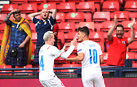 UEFA Euro 2020 Championship Group D match between Scotland v Czech Republic Hampden Park on June 14, 2021 in Glasgow, Scotland<br /> <br /> Patrick Schick celebrates his long-ranger wonder goal - his and Czechoslovakia's second - early in the second-half with Jakub Jankto<br /> <br /> Credit: COLORSPORT/Ian MacNicol