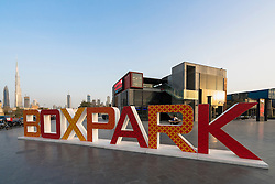New Boxpark retail development containing shops, cafes and restaurants  in Dubai United Arab Emirates