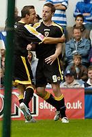 Photo: Leigh Quinnell.<br /> Queens Park Rangers v Cardiff City. Coca Cola Championship. 18/08/2007. Cardiffs Gavin Rae(L) congraulates Steven MacLean on his goal.