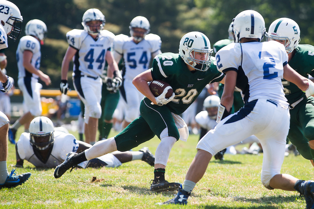 Rice's Cameron Cousino (20) runs with the ball during the football game between the Burlington Seahorses and the Rice Green Knights at Rice Memorial High School on Saturday September 5, 2015 in South Burlington, Vermont. (BRIAN JENKINS/for the FREE PRESS)