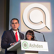 Ernesto Infante Barbosa of EcoCasa speaking at the 2015 Ashden Awards ceremony held at the Royal Geographical Society, London. UK.