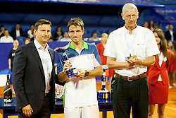 Vanja Bozickovic, tournament director, Tommy Robredo of Espana and Gerry Armstrong, ATP Superviso during flower ceremony after final of singles at 25th Vegeta Croatia Open Umag, on July 27, 2014, in Stella Maris, Umag, Croatia. Photo by Urban Urbanc / Sportida