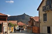 Georgia, Mtskheta, Saint Nino church of the cross in Samtavro monastery on the hill top in the background