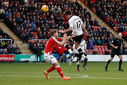 Greg Cunningham of Bristol City heads a shot past James Baillie of Crewe Alexandra - Photo mandatory by-line: Rogan Thomson/JMP - 07966 386802 - 20/12/2014 - SPORT - FOOTBALL - Crewe, England - Alexandra Stadium - Crewe Alexandra v Bristol City - Sky Bet League 1.