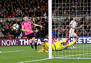 Shot on goal from Dominic Calvert-Lewin of England saved by Ryan Fulton of Scotland during the U21 UEFA EURO first qualifying round match between England and Scotland at the Riverside Stadium, Middlesbrough, England on 6 October 2017. Photo by Paul Thompson.