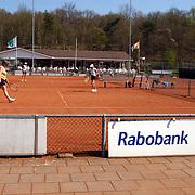 Tennisvereniging de Kuil Huizen, tennis, reclamebord, sponsor Rabobank