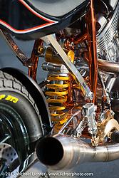 Hideki Hoshikama's (Asterisk Custom Works) entry in the Harley-Davidson Street 750 Build Off at Mooneyes Yokohama Hot Rod & Custom Show. Yokohama, Japan. December 5, 2015.  Photography ©2015 Michael Lichter.