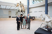 ROME, ITALY - 20 JULY 2014:  (L-R) Mayor of Rome Ignazio Marino poses for a group picture with Dante, First Lady Chirlane McCray, Chiara and Mayor of New York Bill De Blasio, at the Capitoline Museums before a press conference in Rome, Italy, on July 20th 2014.<br /> <br /> Bill de Blasio arrived in Italy with his family Sunday morning for an 8-day summer vacation that includes meetings with government officials and sightseeing in his ancestral homeland.