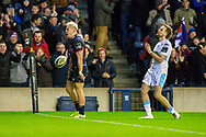 Darcy Graham (#14) of Edinburgh Rugby celebrates after scoring the final try during the 1872 Cup second leg Guinness Pro14 2019_20 match between Edinburgh Rugby and Glasgow Warriors at BT Murrayfield Stadium, Edinburgh, Scotland on 28 December 2019.