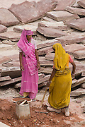 India, Rajasthan, Jaipur, Amber fort built 1592 Female construction workers