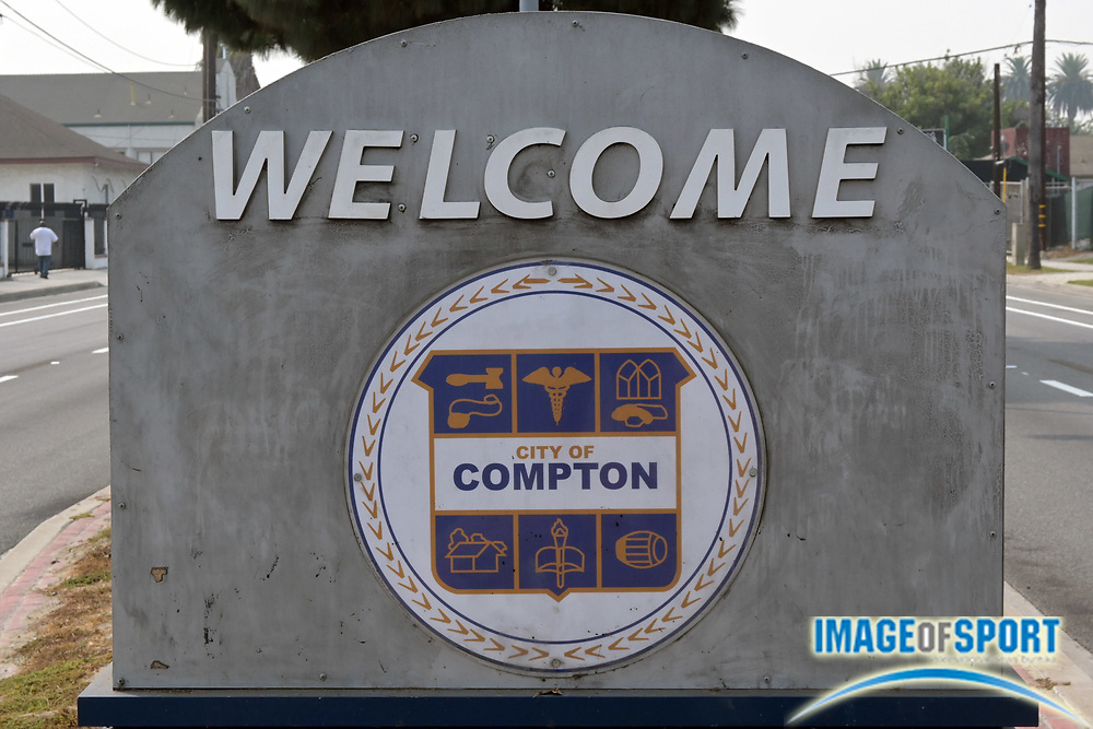 """A """"Welcome to City of Compton"""" sign on Wilmington Ave., Tuesday, Sept. 15, 2020, in Compton, Calif."""