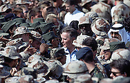 President H.W. Bush (41) visits troops near Dahahran, Saudi Arabia during the building up for the Gulf War in November 1990...Photograph by Dennis Brack bs b 17