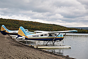 Float planes line up along the beach at Brooks Camp waiting to take visitors back to civilization at Katmai National Park and Preserve September 16, 2019 near King Salmon, Alaska. The remote national park, known for the largest concentration of brown bears in the world is only accessible by float plane or water taxi.