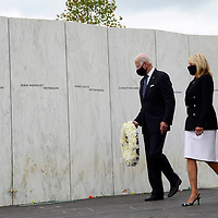 Vice President and Democratic candidate Joe Biden and his wife Jill visits the Flight 93 National Memorial and places a wreath at the Wall of Names honoring the 40 passengers and crew that lost their lives in the crash from terrorist attack 19 years ago on Friday, September 11, 2020 near Shanksville, Pennsylvania. Photo by Archie Carpenter/UPI
