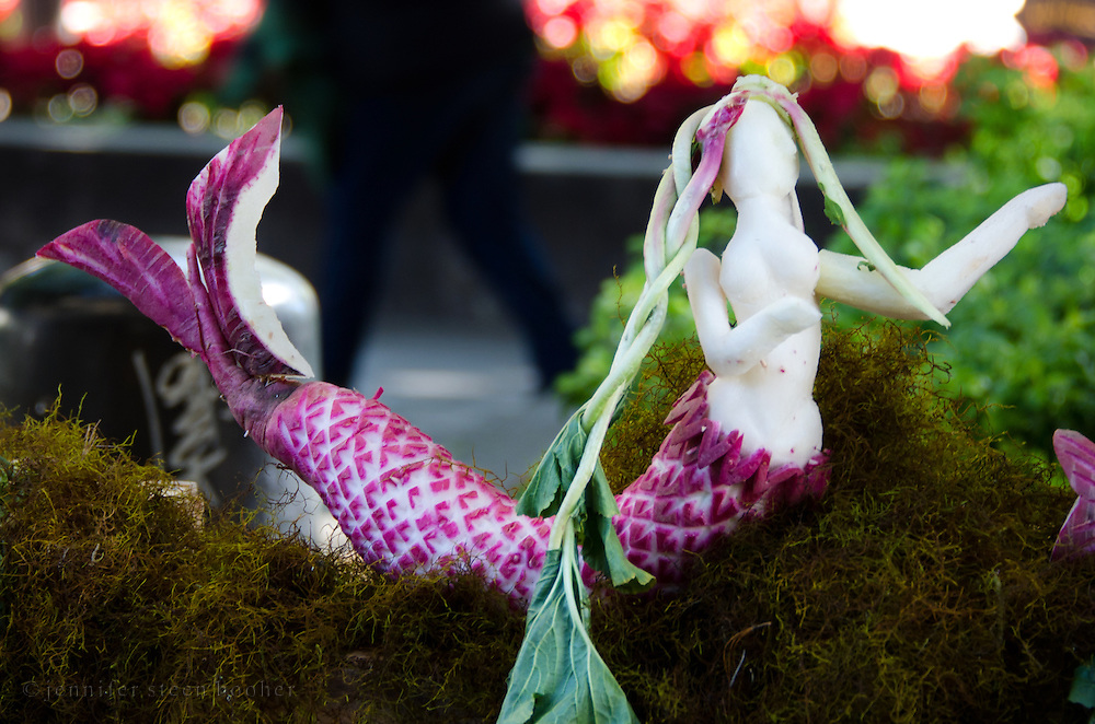 Mermaid carved from radishes for Noche de Rabanos, Oaxaca, Mexico.