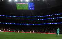 Football - 2019 / 2020 UEFA Champions League - Group B: Tottenham Hotspur vs. Bayern Munich<br /> <br /> Final score on the scoreboard, at The Tottenham Hotspur Stadium.<br /> <br /> COLORSPORT/ANDREW COWIE