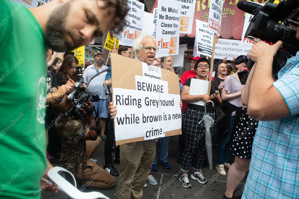 Demonstrators against Greyhound Corporation and ICE (Immigration Customs and Enforcement) in New York, New York. (One Time Social Media Use, Additional rights such editorial and commercial uses are available.)
