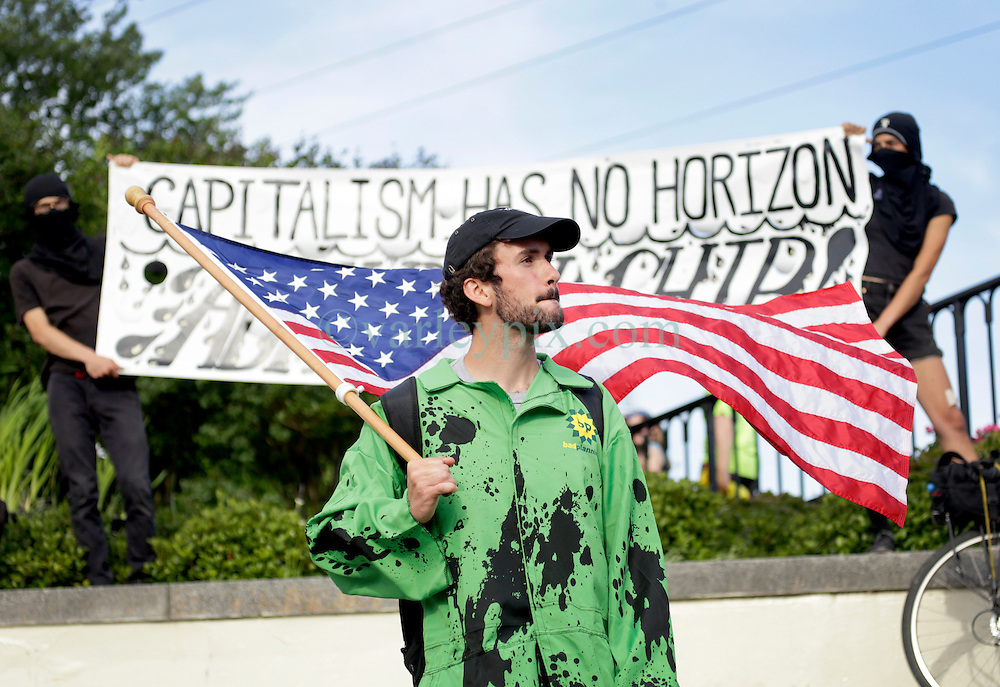 20 April 2015. New Orleans, Louisiana.<br /> Gulf South Rising.<br /> Protesters mark the 5th anniversary of the disastrous BP Macondo Well blowout in the Gulf of Mexico. The largest marine oil spill in history claimed 11 lives and witnessed an estimated 5 million barrels of oil polluting the Gulf. <br /> Photo; Charlie Varley/varleypix.com