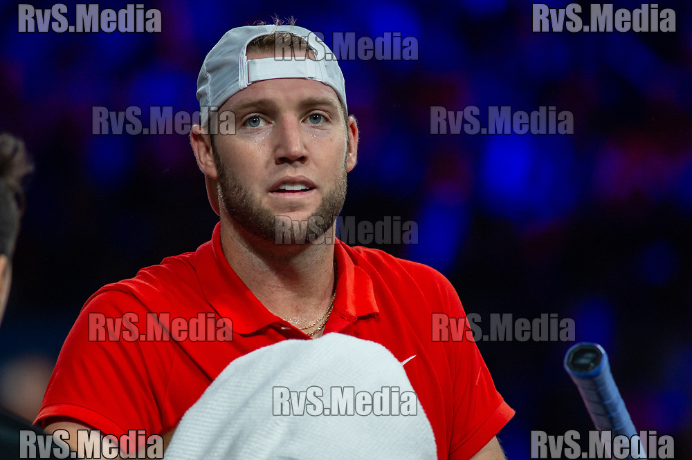 GENEVA, SWITZERLAND - SEPTEMBER 22: Jack Sock of Team World looks on during Day 3 of the Laver Cup 2019 at Palexpo on September 22, 2019 in Geneva, Switzerland. The Laver Cup will see six players from the rest of the World competing against their counterparts from Europe. Team World is captained by John McEnroe and Team Europe is captained by Bjorn Borg. The tournament runs from September 20-22. (Photo by Monika Majer/RvS.Media)
