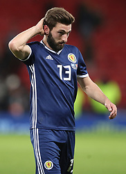 Scotland's Graeme Shinnie leaves the pitch after the final whistle of the International Friendly match at Hampden Park, Glasgow.