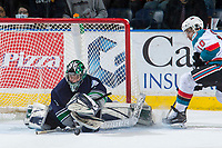 KELOWNA, CANADA - APRIL 26: Carl Stankowski #1 of the Seattle Thunderbirds makes a second period save on a break away shot by Nick Merkley #10 of the Kelowna Rockets during second period on April 26, 2017 at Prospera Place in Kelowna, British Columbia, Canada.  (Photo by Marissa Baecker/Shoot the Breeze)  *** Local Caption ***