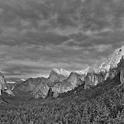 Yosemite Valley Overlook - Sunset Full Rim Light - HDR - Black & White
