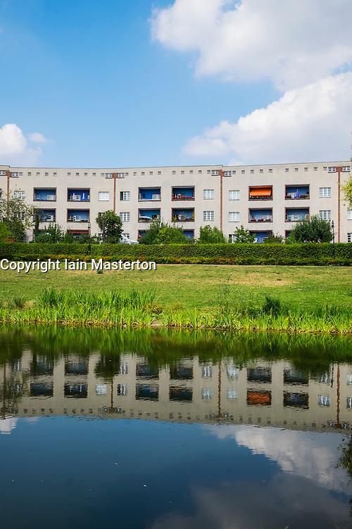 Modernist housing at Grosssiedlung Britz - Hufeisensiedlung UNESCO site  Berlin, Germany